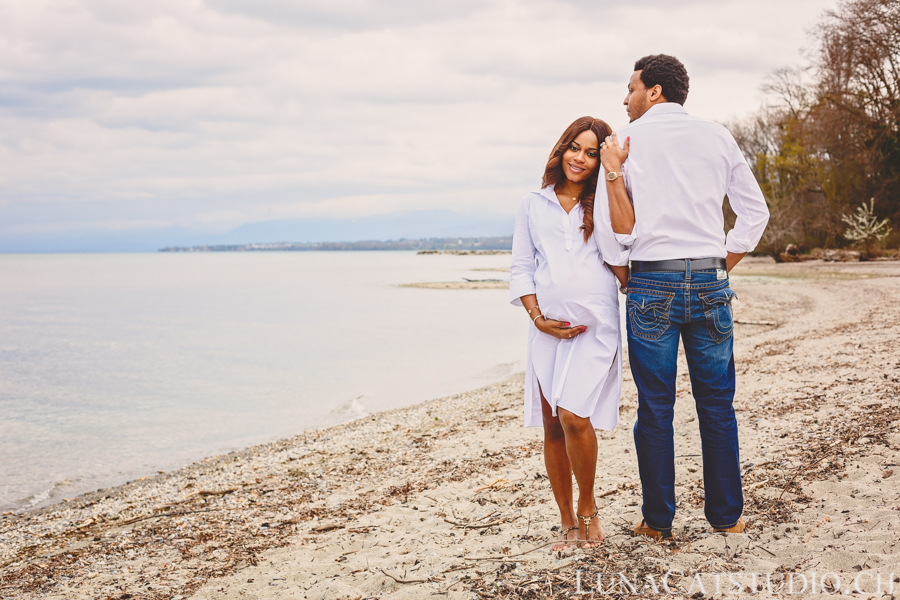 shooting photo lac léman couple grossesse